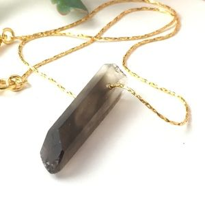 Smoky Quartz Raw Naturally Pointed Crystal Chain